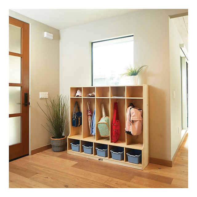 Peachy Ecr4Kids 5 Section Locker With Bench And Storage Shelves Home Interior And Landscaping Ologienasavecom