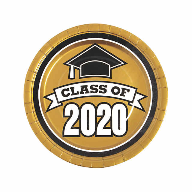 Oriental Trading Graduation 2020.Gold Class Of 2020 Paper Dinner Plates