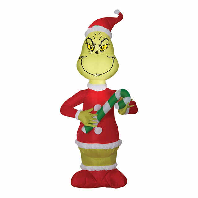 Inflatable Small Grinch With Candy Cane Christmas Decoration