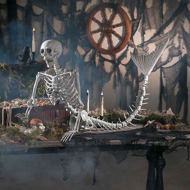 Life Size Original Mermaid Skeleton Halloween Decoration
