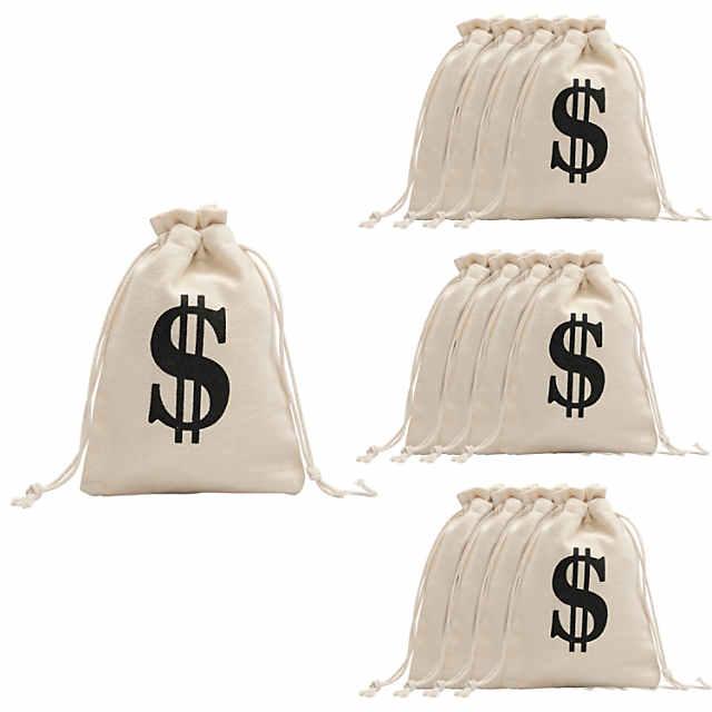 Money Burlap Drawstring Bags