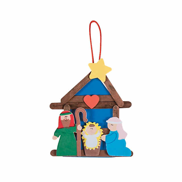 Oriental Trading Christmas.Nativity Craft Stick Religious Christmas Ornament Craft Kit