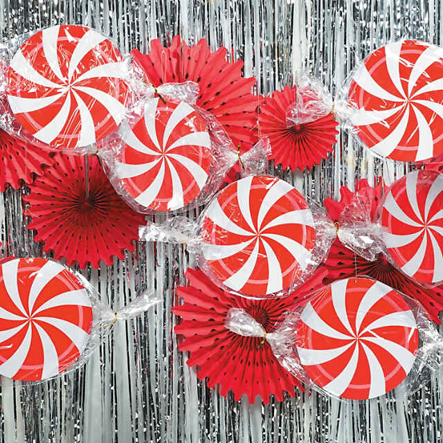 Peppermint Swirl Hanging Decorations 3 Pc