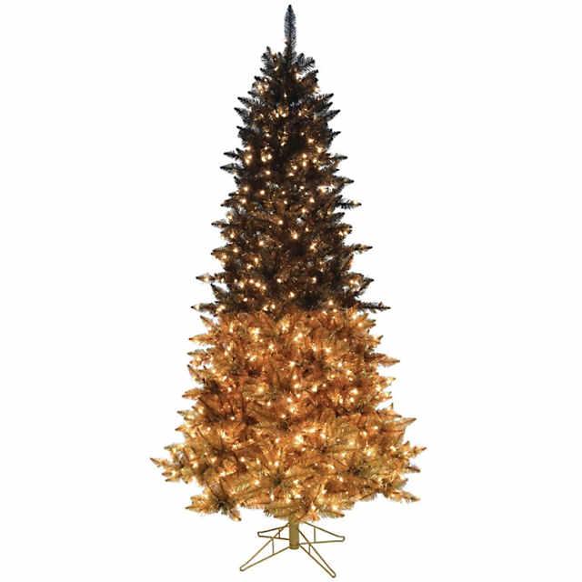 Christmas Tree Led.Vickerman 7 5 X 48 Black Gold Christmas Tree With Warm White Led Lights