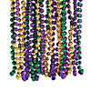 Metallic Tri-Color Mardi Gras Beaded Necklaces