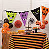 Orange & Black Striped Halloween Plastic Tablecloth Roll Image Thumbnail 2