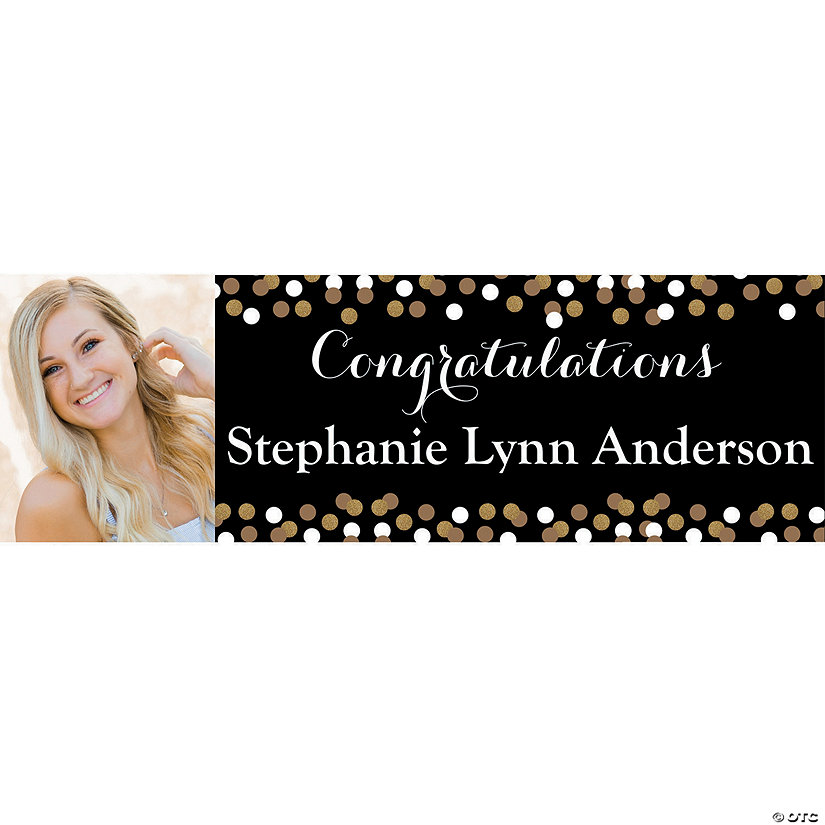 Black & Gold Graduation Photo Custom Banner - Medium Image Thumbnail