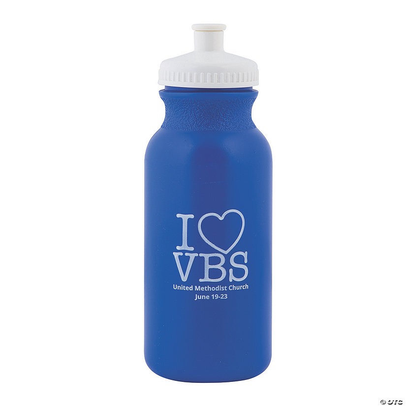 Blue I Love VBS Personalized Plastic Water Bottles Image Thumbnail