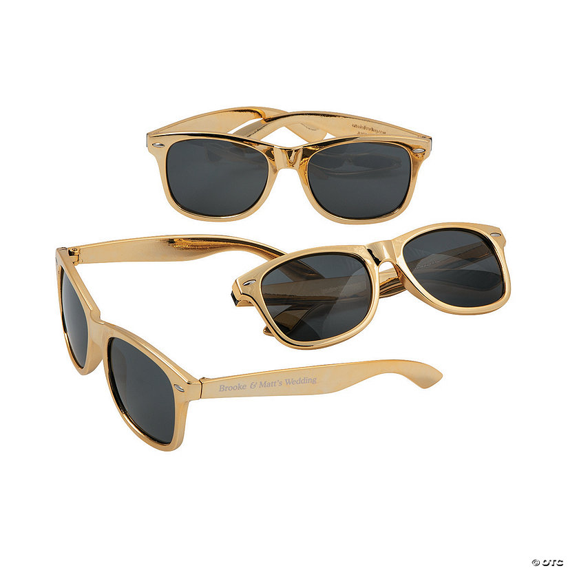 Bulk Personalized Metallic Gold Sunglasses - 48 Pc. Image Thumbnail