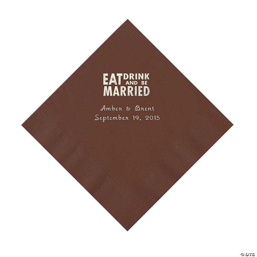 Chocolate Brown Eat, Drink And Be Married Napkins with Silver Foil - Luncheon Image Thumbnail