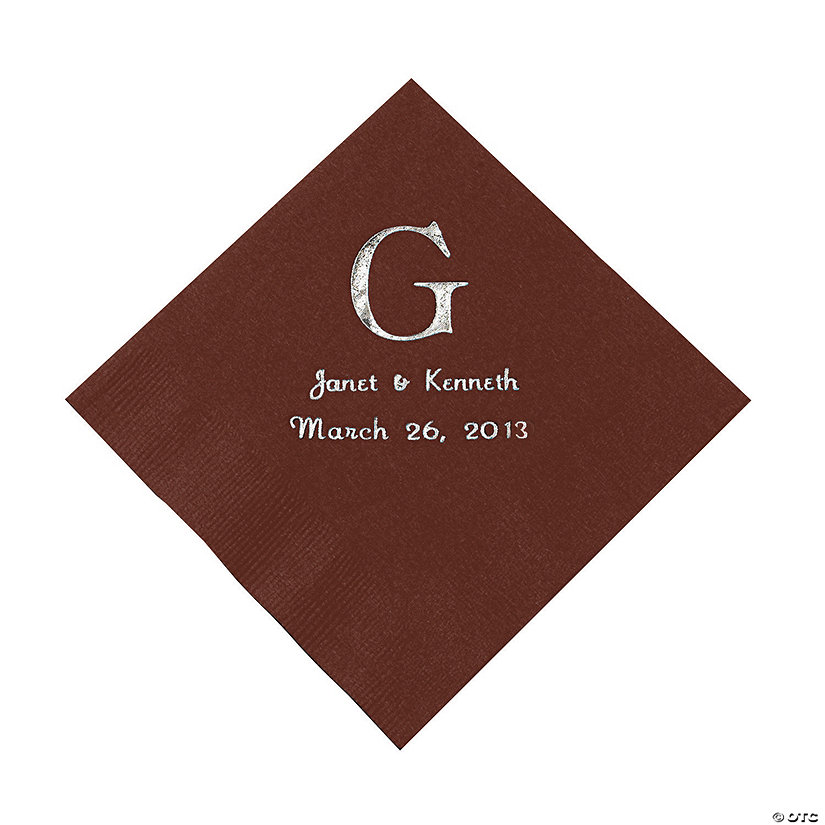 Chocolate Brown Monogram Wedding Personalized Napkins with Silver Foil - Luncheon Image Thumbnail