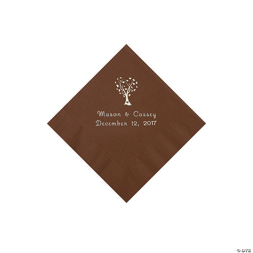 Chocolate Love Tree Personalized Napkins - Beverage Image Thumbnail