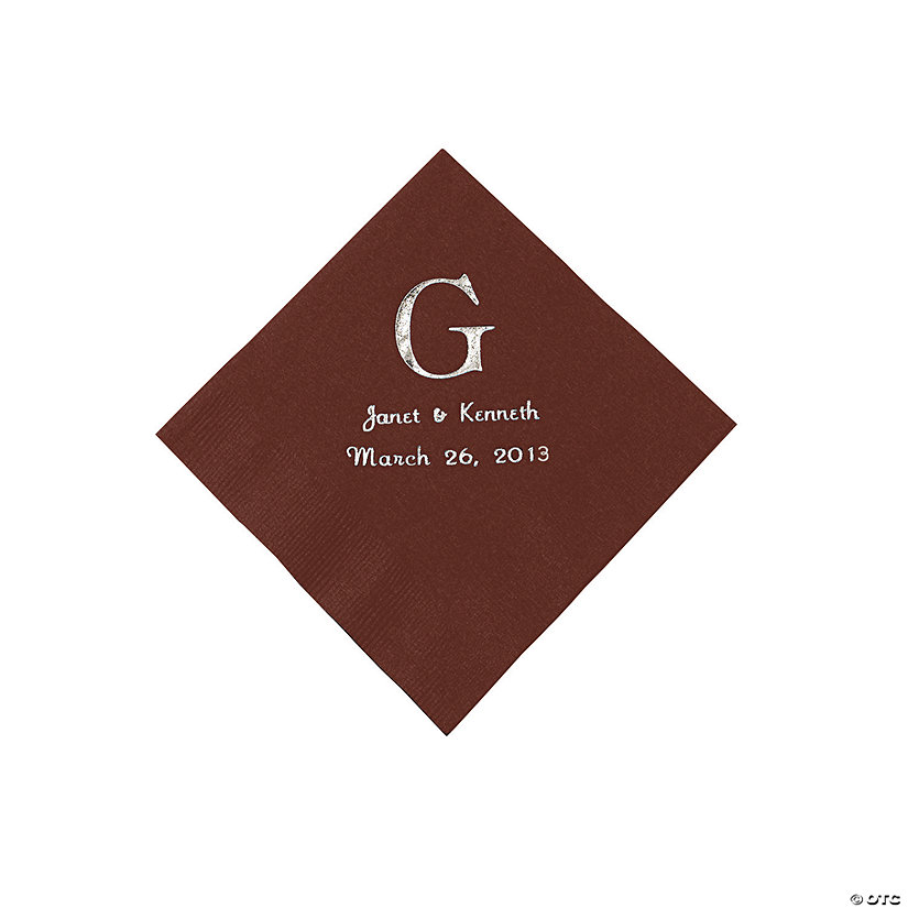 Chocolate Wedding Monogram Personalized Napkins with Silver Foil - Beverage Image Thumbnail