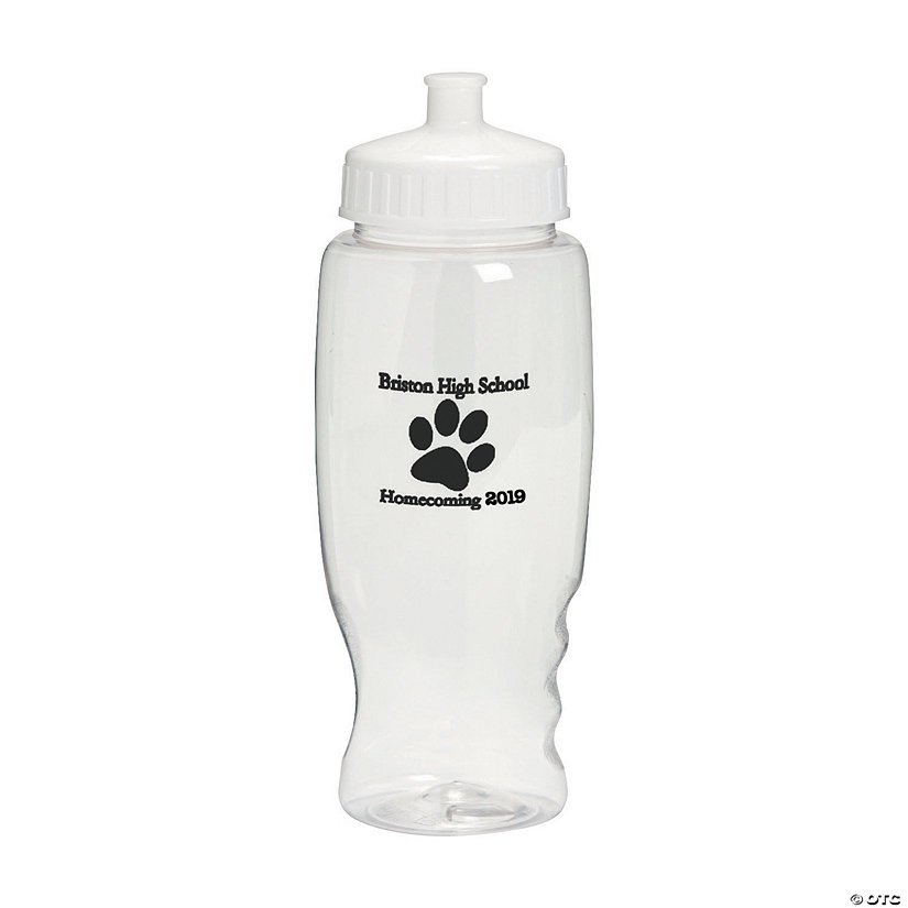 Clear Paw Print Personalized Plastic Water Bottles Image Thumbnail