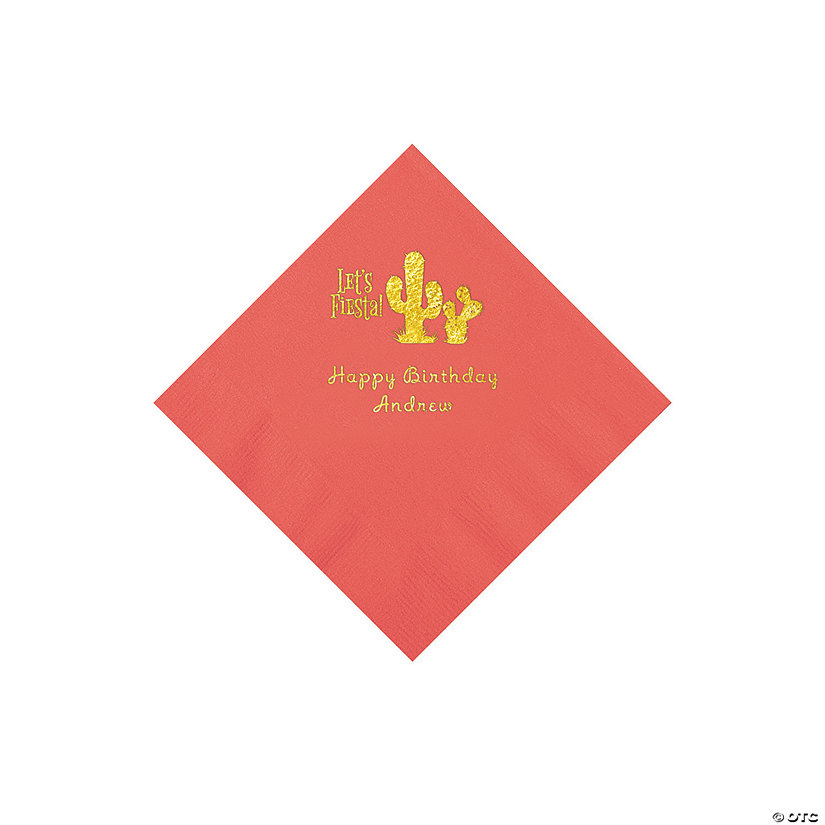 Coral Fiesta Personalized Napkins with Gold Foil - Beverage Image Thumbnail