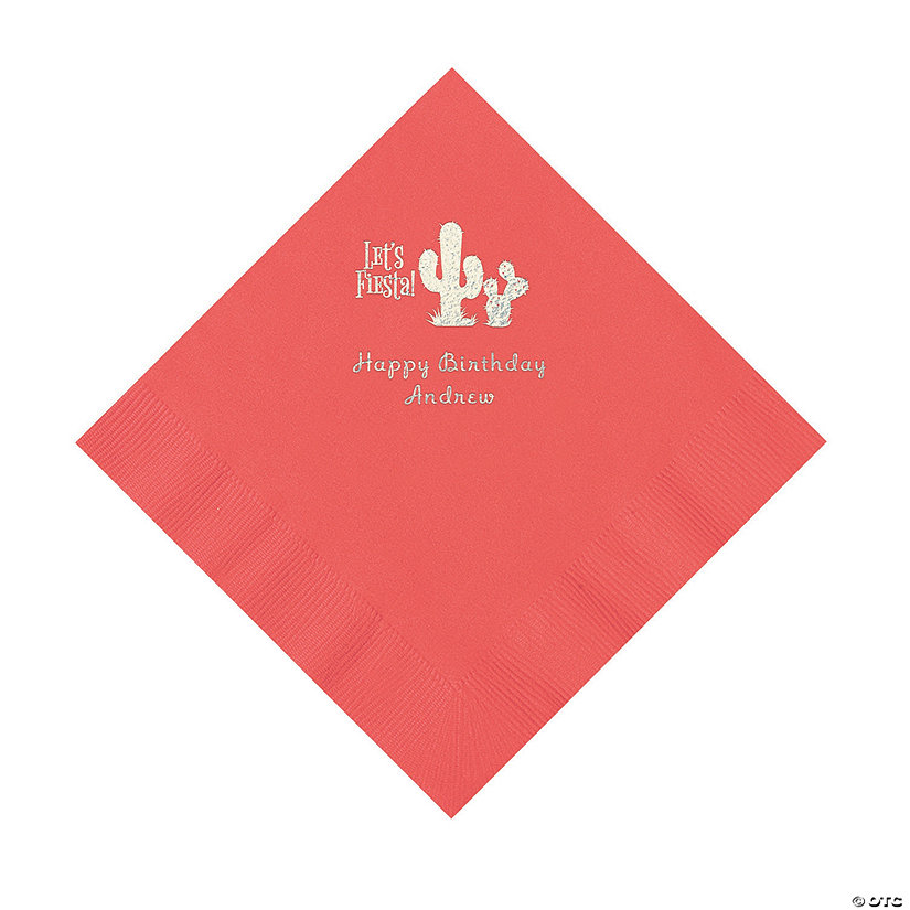 Coral Fiesta Personalized Napkins with Silver Foil - Luncheon Image Thumbnail