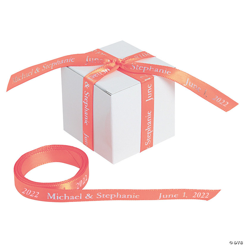 "Coral Personalized Ribbon - 3/8"" Image Thumbnail"