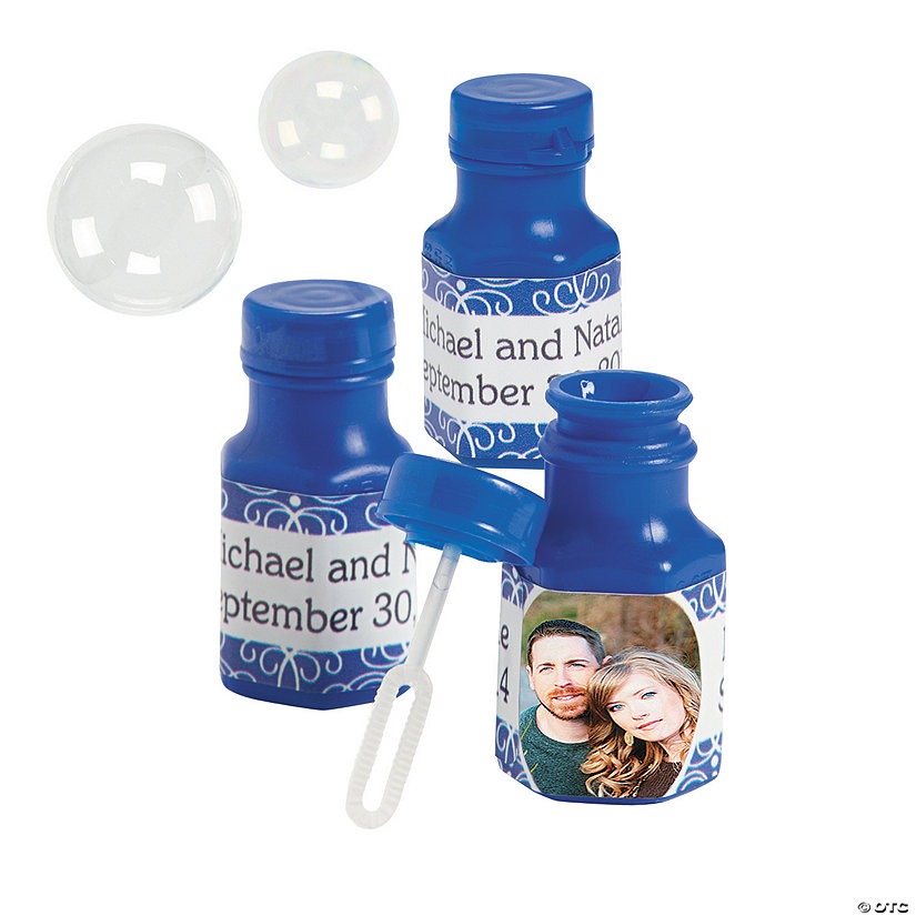 Custom Photo Blue Mini Bubble Bottles Image Thumbnail