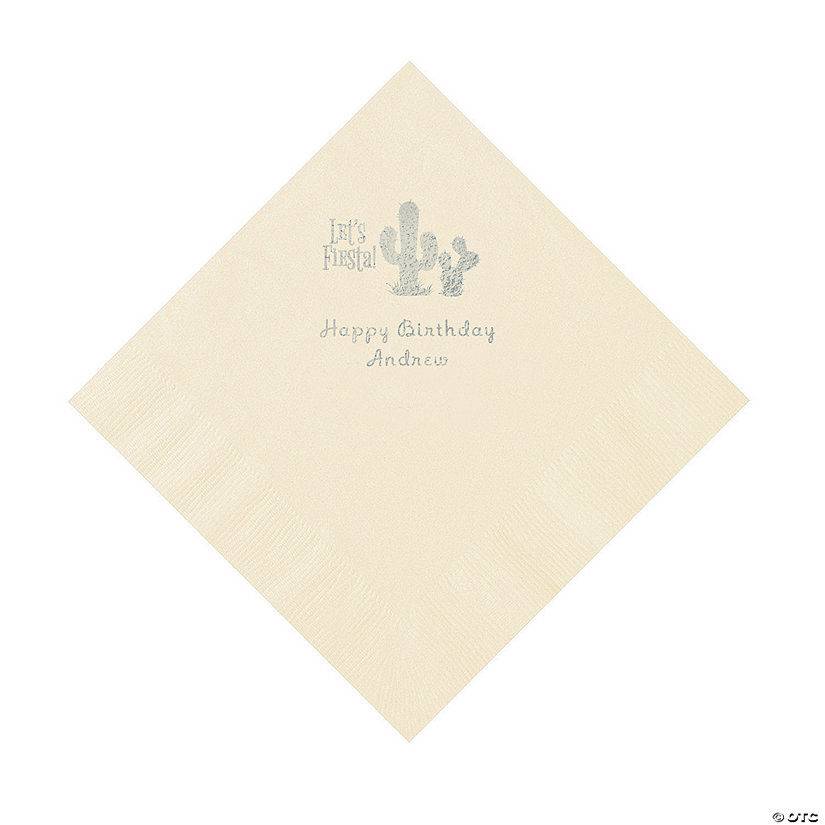 Ivory Fiesta Personalized Napkins with Silver Foil - Luncheon Image Thumbnail