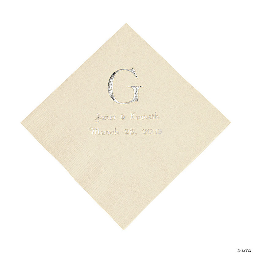 Ivory Monogram Wedding Personalized Napkins with Silver Foil - Luncheon Image Thumbnail