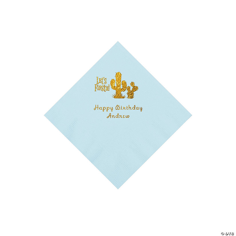 Light Blue Fiesta Personalized Napkins with Gold Foil - Beverage Image Thumbnail