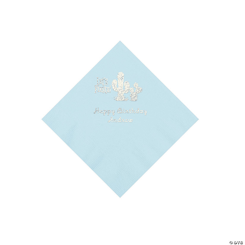 Light Blue Fiesta Personalized Napkins with Silver Foil - Beverage Image Thumbnail