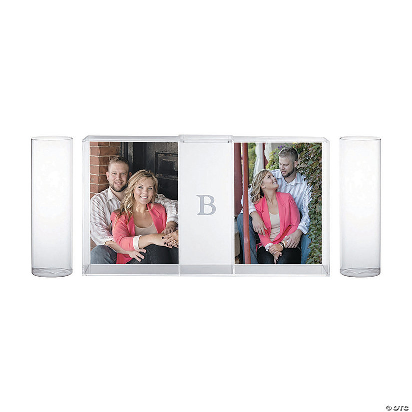Monogrammed Unity Sand Ceremony Shadow Box with Picture Frames Set Image Thumbnail