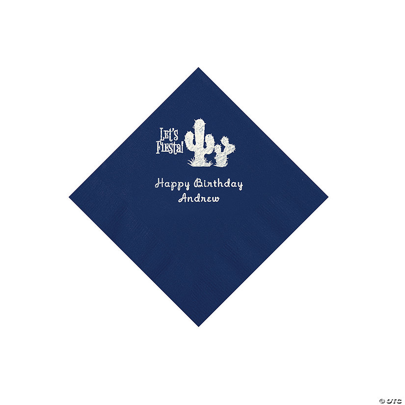 Navy Blue Fiesta Personalized Napkins with Silver Foil - Beverage Image Thumbnail