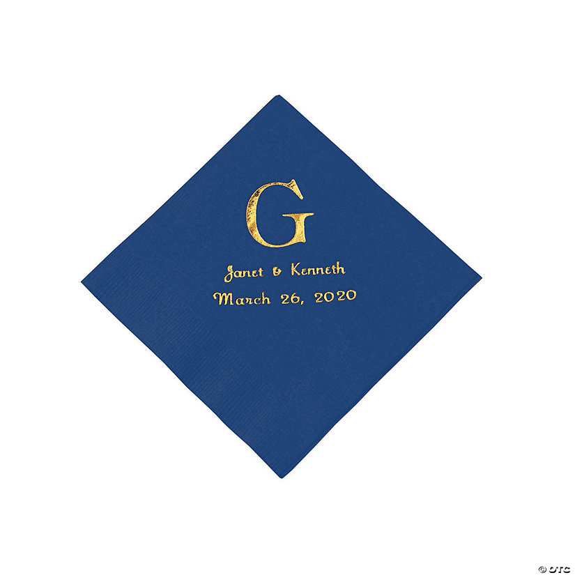 Navy Blue Wedding Monogram Personalized Napkins with Gold Foil - Beverage Image Thumbnail