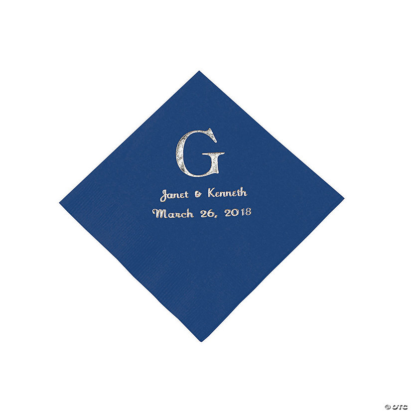Navy Blue Wedding Monogram Personalized Napkins with Silver Foil - Beverage Image Thumbnail