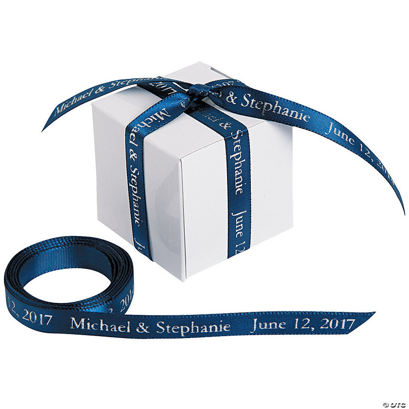 "Navy Personalized Ribbon - 3/8"" Image Thumbnail"