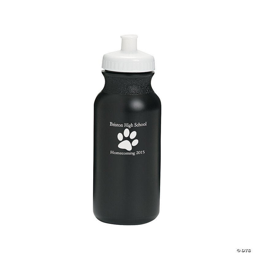 Opaque Black Paw Print Personalized Plastic Water Bottles Image Thumbnail
