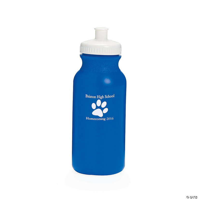 Opaque Blue Paw Print Personalized Plastic Water Bottles Image Thumbnail