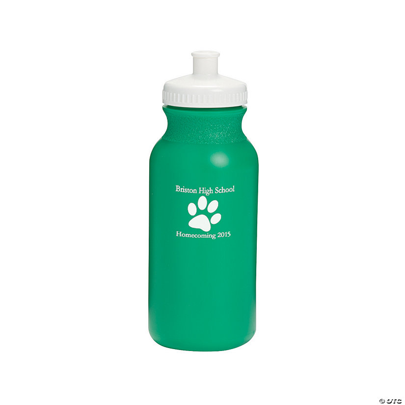 Opaque Green Paw Print Personalized Plastic Water Bottles Image Thumbnail