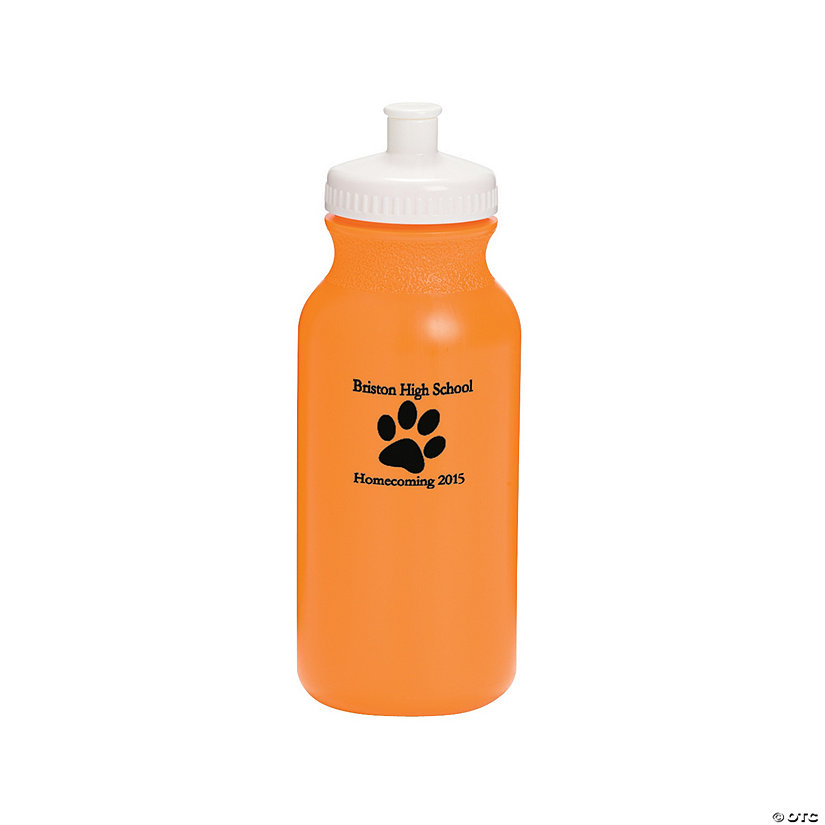 Opaque Orange Paw Print Personalized Plastic Water Bottles Image Thumbnail