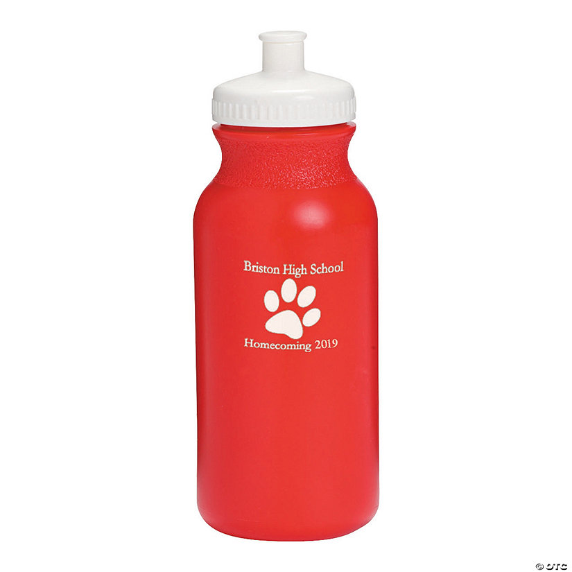 Opaque Red Paw Print Personalized Plastic Water Bottles Image Thumbnail