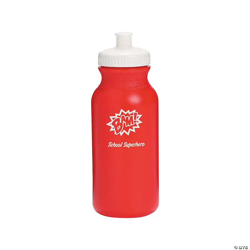 Opaque Red Superhero Personalized Plastic Water Bottles Image Thumbnail