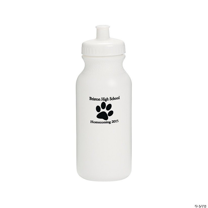 Opaque White Paw Print Personalized Plastic Water Bottles Image Thumbnail