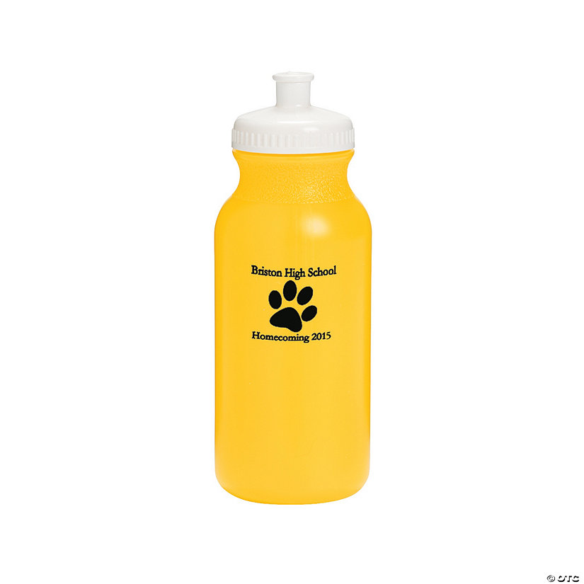 Opaque Yellow Paw Print Personalized Plastic Water Bottles Image Thumbnail