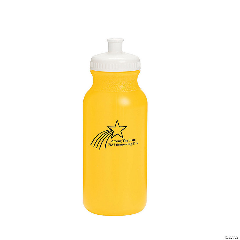 Opaque Yellow Shooting Star Personalized Plastic Water Bottles Image Thumbnail