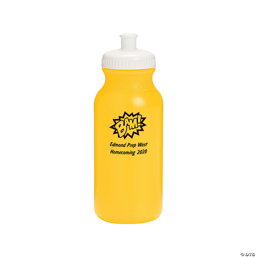 Opaque Yellow Superhero Personalized Plastic Water Bottles Image Thumbnail