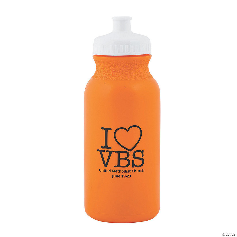 Orange I Love VBS Personalized Plastic Water Bottles Image Thumbnail