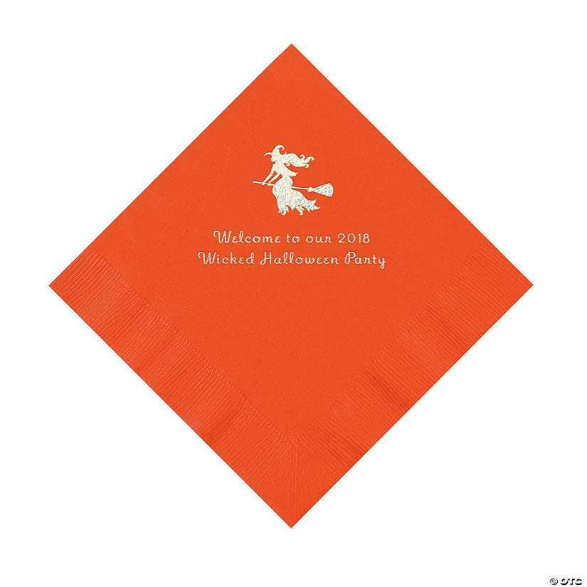 Orange Witch Personalized Napkins with Silver Foil – Luncheon Image Thumbnail