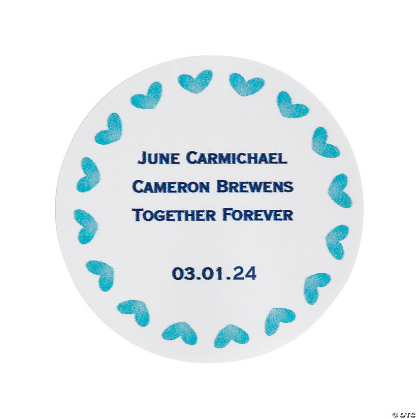 Personalized Blue Watercolor Favor Stickers Image Thumbnail