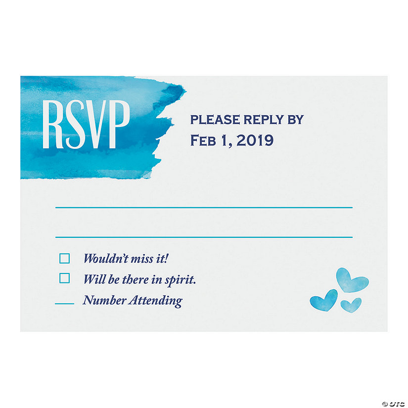 Personalized Blue Watercolor RSVP Cards Image Thumbnail