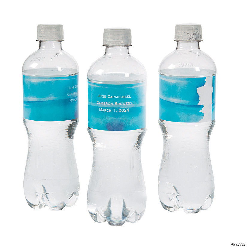 Personalized Blue Watercolor Water Bottle Labels Image Thumbnail