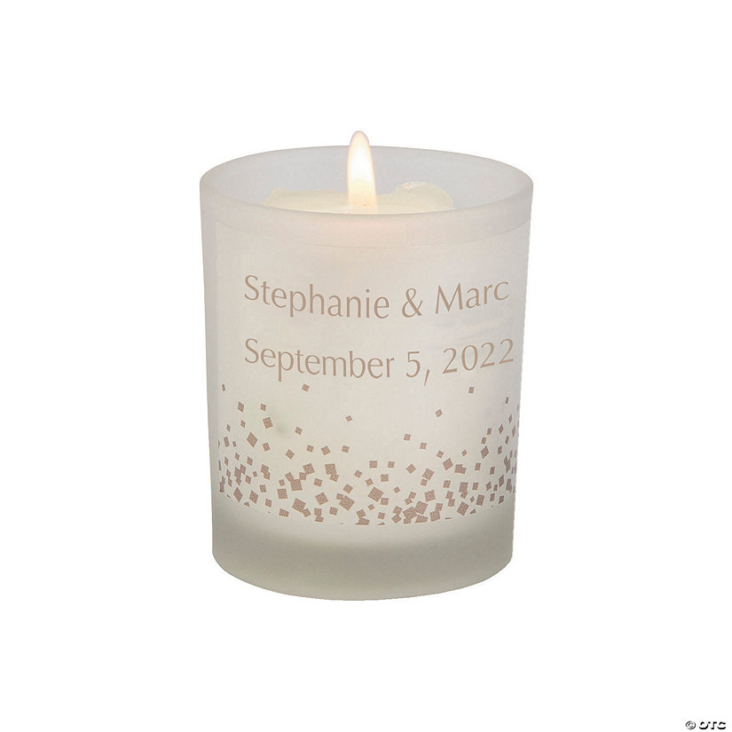Personalized Confetti Dots Wedding Votive Candle Holders Image Thumbnail