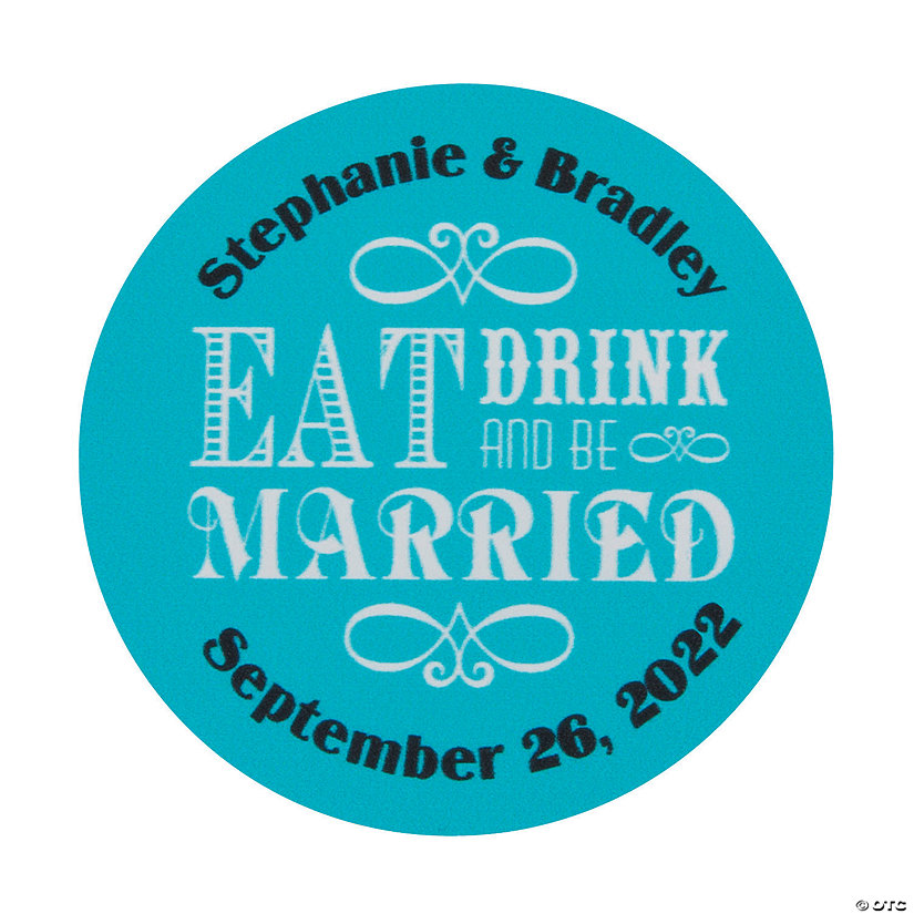 Personalized Eat Drink & Be Married Favor Stickers Image Thumbnail