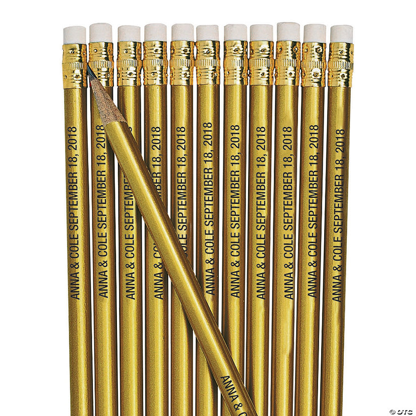 Personalized Gold Pencils - 24 Pc. Image Thumbnail