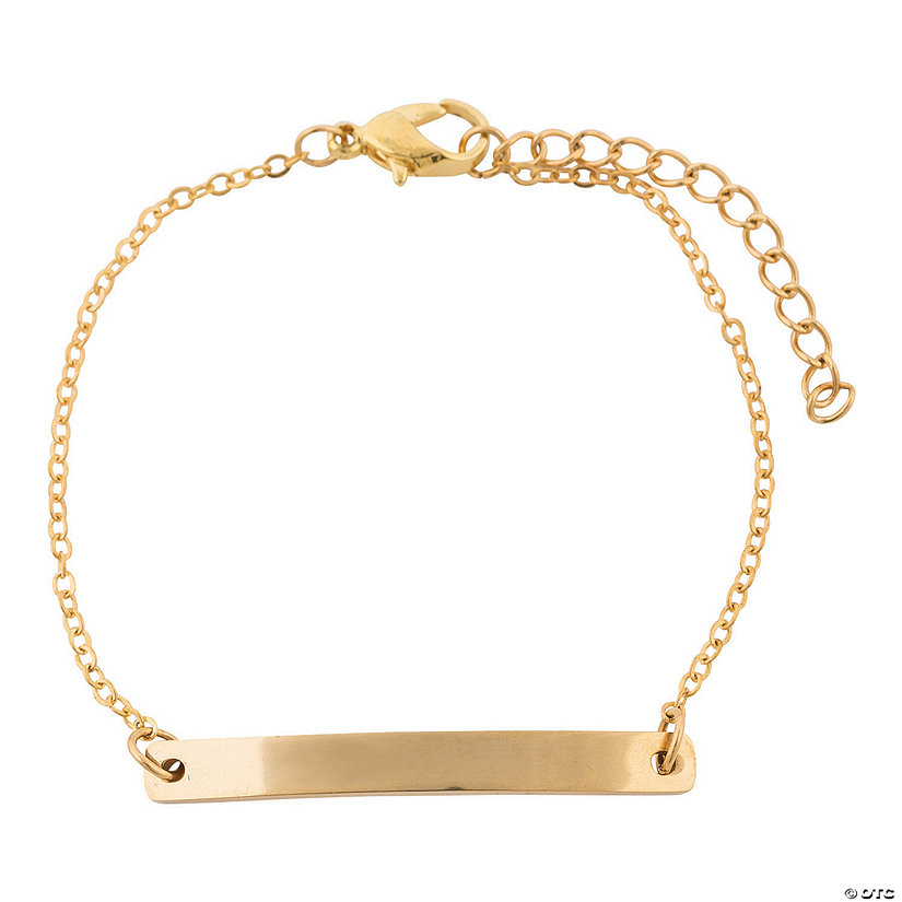 Personalized Goldtone Bar Bracelet Image Thumbnail